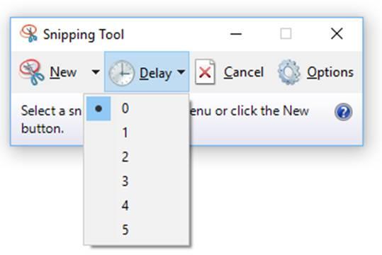 snipping tool menu options